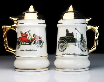 Stein Salt and Pepper Set, Antique Car Design, Ceramic, Shakers, Figural, Home Bar Decor, Collectible