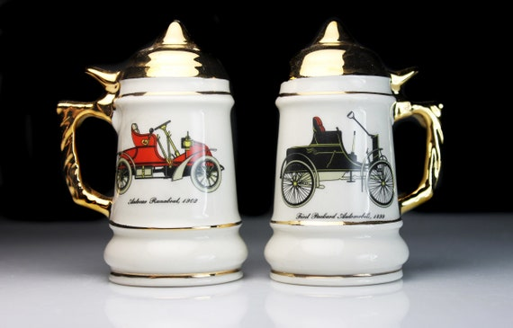 Stein Salt and Pepper Set, Antique Car Design, Ceramic, Shakers, Figural, Home Bar Decor, Collectible