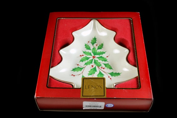 Tree Shaped Candy Dish, Lenox Holiday, New In Box, Holly, Gold Trimmed, Christmas Holiday Gift