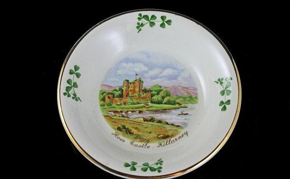 Souvenir Bowl, Arklow Pottery, Republic of Ireland, Ross Castle, Killarney, Shamrock, Gold Trimmed, Trinket Dish, Candy Bowl
