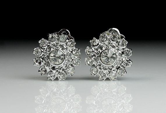 Clear Rhinestone Cluster Earrings, Clip On, Silver-Tone