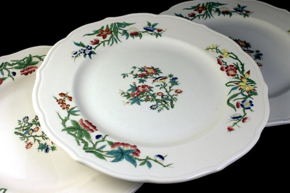 Dinner Plates, Syracuse China, Restaurant Grade, Bombay Pattern, Set of 3, Bird and Floral, Scalloped Edge