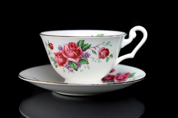 Footed Teacup and Saucer, Clarence, England, Bone China, Red Rose Design, Gold Trim