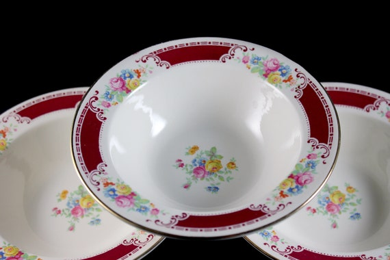 Cereal Bowls, Homer Laughlin, Majestic, Brittany Shape, Set of 3, Multicolor Floral, Burgundy Band