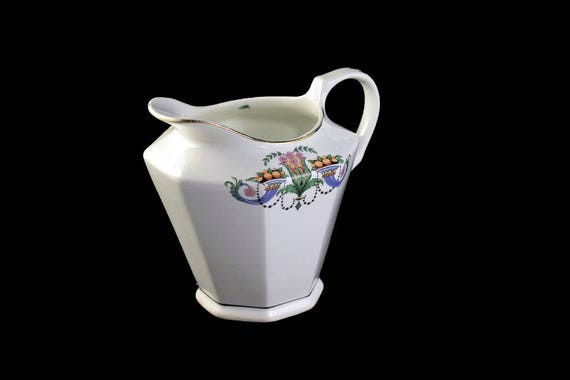 Limoges Small Pitcher, Creamer, Panel Shaped, Floral and Fruit Pattern, Gold Trim, Fine China