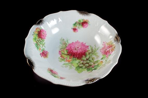 Vegetable Bowl, Pink Floral, Gold Trimmed, 10 Inch, Serving Bowl, Embossed, Centerpiece, Decorative, Fruit Bowl, Porcelain