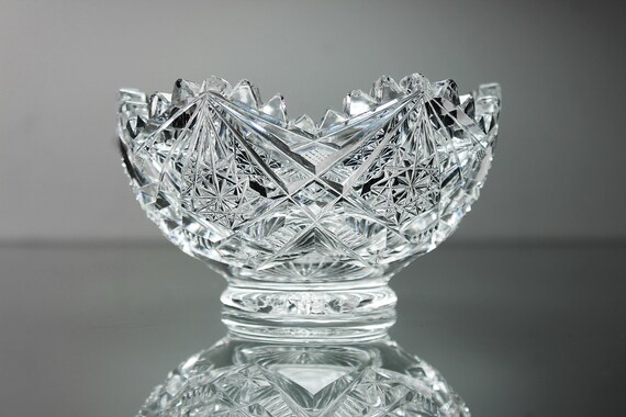 Crystal Footed Bowl, Pinwheels and Arches, Cut Glass, Heavy Crystal