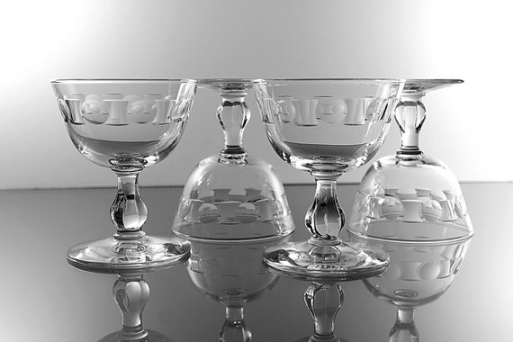 Champagne Glasses, Libbey Glass Company, Dot Band,  Set of 4, Cut Glass, Sherbet Glasses, Barware, Discontinued