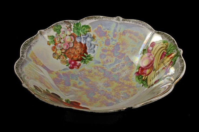 8 Inch Iridescent Opalescent Porcelain Fruit Bowl Fruit Pattern Lusterware