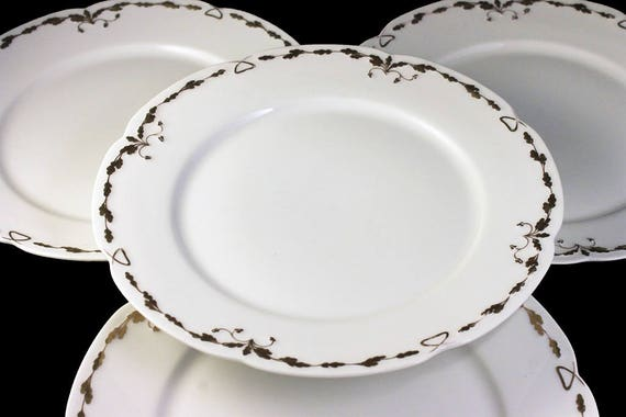 Antique Dinner Plates, Old Abbey, Limoges France, Latrille Freres, Raised Gold, Hand Painted, Set of 4, Rare, Hard to Find