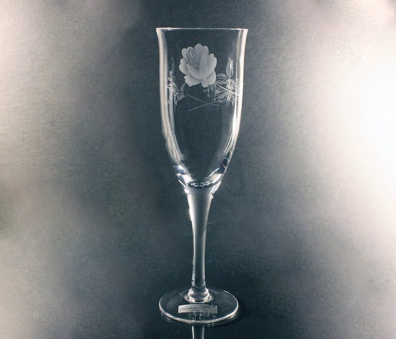 Noritake Crystal Champagne Flute, Virtue, Etched, Rose Pattern, Wine Glass, Barware, Stemware, Original Paper Sticker