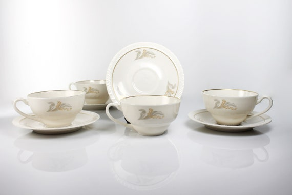 Cups and Saucers, Hanover China, Enchantment, Lily of the Valley, Set of 4, Fine China, Discontinued