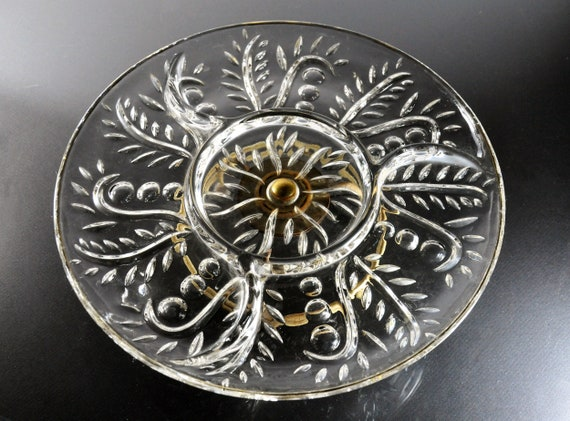 Federal Glass Lazy Susan, Leaf and Dot, 4 Section, Appetizer Set, Glass and Metal, Giftware