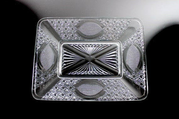 EAPG Antique Bread Plate, Daisy and Button, St Andrews Cross, Rectangle, Pressed Glass