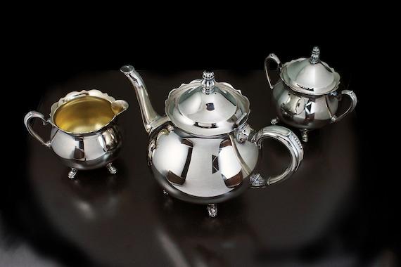 Oneida Silver Plate, Tea Set, Heirloom Colonial Suite, 3 Piece Tea Service, Tea Service