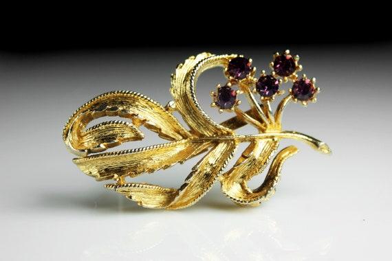 Purple Rhinestone Brooch, Rhinestone Pin, Gold Tone, C-Clasp Closure, Floral, Fashion Pin, Costume Jewelry