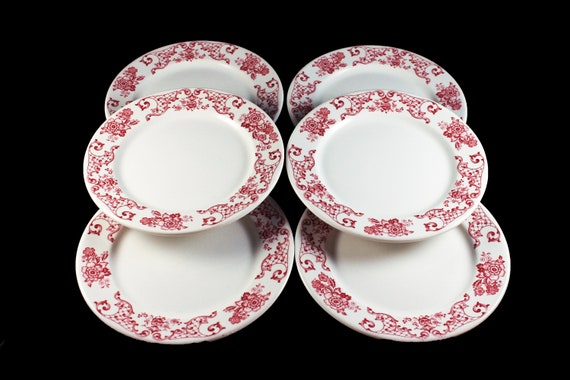 Bread and Butter Plates, Syracuse China, Restaurant Grade, Red Floral, Set of 6, Dinnerware