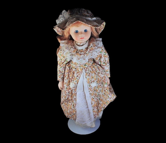 Collectible Porcelain Doll, Prairie Floral Dress, Blonde Doll, Display Doll, Stand Included, 16 Inch Doll
