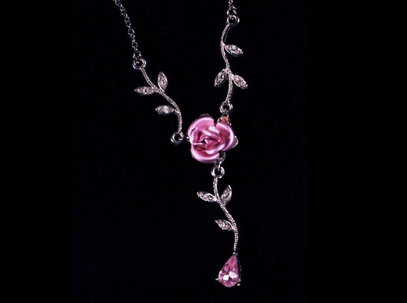 Rose Y Shape Necklace, Pink Tear Drop, Clear Rhinestone, Jewelry, Costume Jewelry, Fashion Jewelry, Collectible