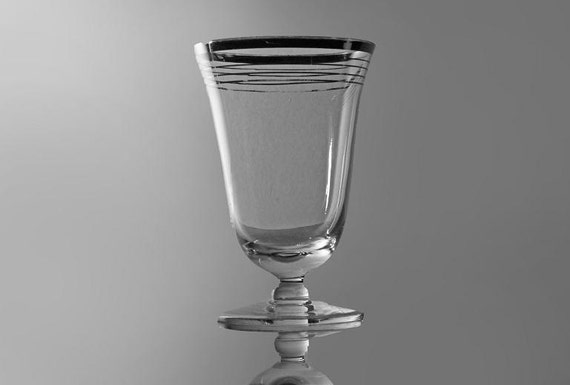 Cordial Glass, Silver Striped, Barware