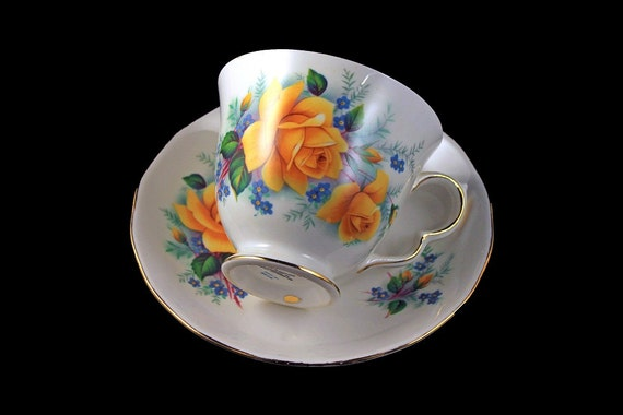 Footed Teacup and Saucer, Queen Anne, Bone China, Yellow Rose Pattern, Gold Trim, Made in England, Pattern #8518