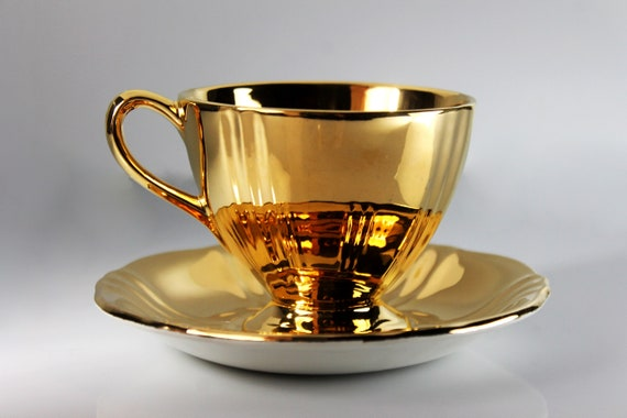 Gold Royal Winton Teacup, Golden Age, Footed Cup and Saucer, Fine Bone China, Encased Gold