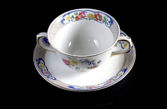 Bouillon Cup and Saucer, John Maddock & Sons, Royal Vitreous, Multi-floral