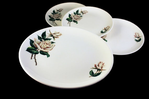 Universal Pottery, Bread and Butter Plates, Ballerina,  White Rose Pattern, Made in USA, Porcelain, Set of 4