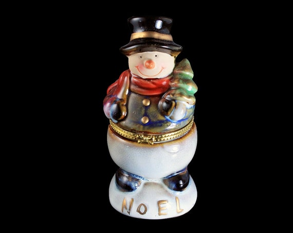 Snowman Trinket Box, Ring Box, Hinged Porcelain, Christmas, Holiday Box, Gold Trim, Vanity Box