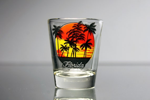 Souvenir Shot Glass, Florida, Sunset With Palm Trees, Clear Glass, Pryo-Glazed, Collectible, Barware