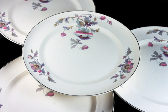 Dinner Plates, Symphony by Salem, Platinum Gold, Floral Pattern, Set of 4, Porcelain