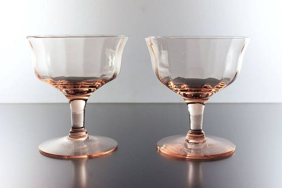 Pink Sherbet Glasses, Optic Paneled, Depression Glass, Champagne Glasses, Cocktail Glasses, Set of 2, Barware