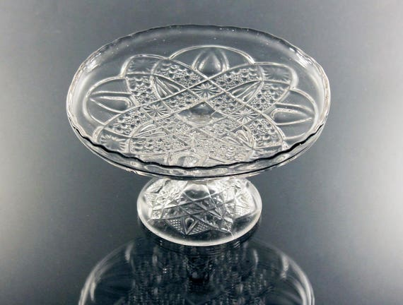Antique EAPG Pedestal Dish, Small Compote, Bands and Star, Pressed Glass, Clear Glass, Serving Dish, Centerpiece, Cake Plate
