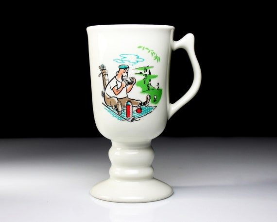 Hall Irish Coffee Mug, Golfer Picnic, White, Coffee Cup, Golf Lovers Gift, 8 Ounce