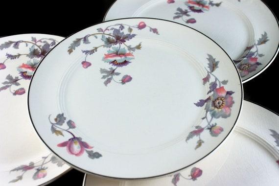 Salad Plates, Symphony by Salem, Platinum Gold, Floral Pattern, Set of 4, Porcelain