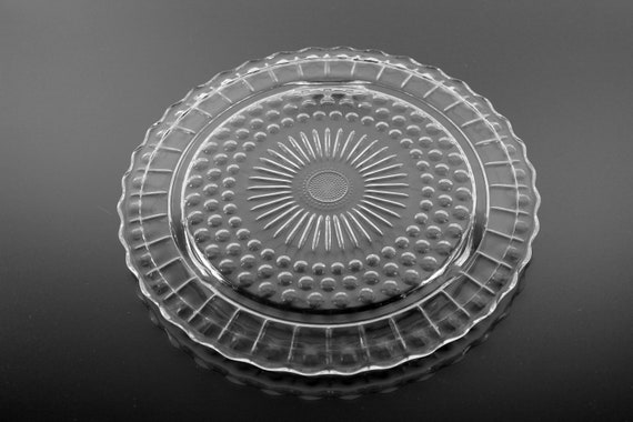 Footed Cake Plate, Federal Glass, Sunburst, Dots and Panels, Clear Glass, Dessert Plate