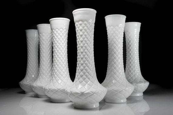 Milk Glass Vases, Diamond Pattern, 9 Inch, Set of 6, Wedding Decor