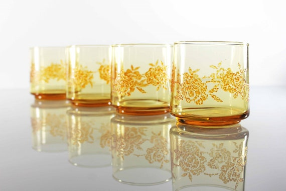 Old Fashioned Glasses, Amber Rose, Rock Glasses, Barware, Set of 4, 8 Ounces