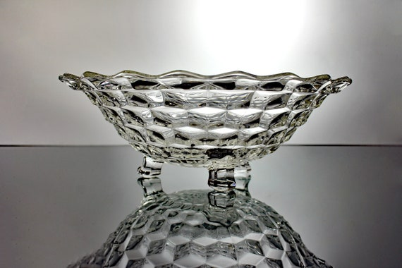 Three Toed Bowl, Fostoria, American, Cubed, Clear Glass, Tableware, Discontinued, Centerpiece