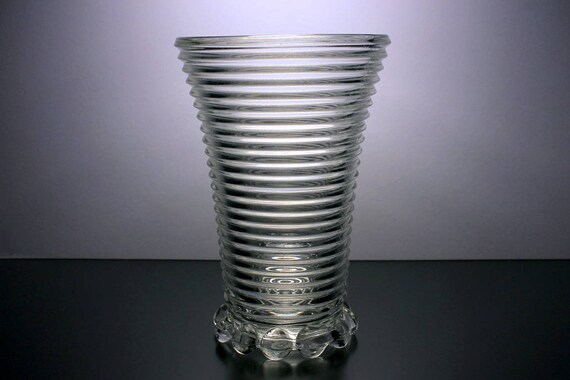 Anchor Hocking Vase, Manhattan, Art Deco, Clear Glass, Horizontal Ribbed, Bubble Foot, Collectible