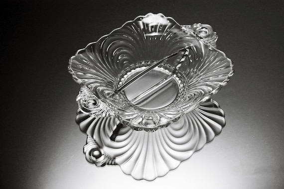 Divided Bowl, Cambridge, Caprice, Depression Glass, Salt and Pepper Dip Bowl, Footed, Clear Glass, Square, Handled
