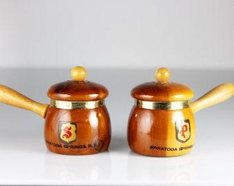 Wooden Salt and Pepper Set, Saucepan Shaped, Souvenir, Saratoga Springs, Shakers, Figural, Kitchen Decor, Collectible