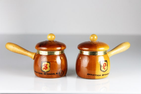 Wooden Salt and Pepper Set, Saucepan Shaped, Souvenir, Saratoga Springs, Shakers, Figural, Kitchen Decor, Collectible