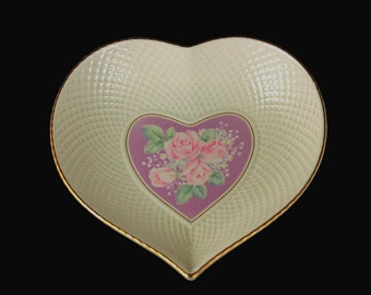 Mikasa Heart Bowl, Ivory Bone China, Rose Bouquet Lavender, Candy Dish, Trinket Dish, Gold Trimmed, Japan, Valentine's Day, Gift Idea