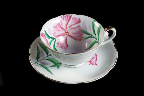Teacup and Saucer, Merit, Occupied Japan, Bone China, Made In Japan, Hand Painted, Pink Floral, Gold Trim