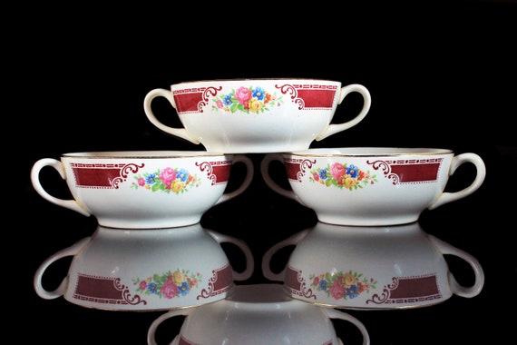 Flat Cream Soup Bowls, Homer Laughlin, Majestic, Brittany Shape, Set of 3, Multicolor Floral, Burgundy Band, Hard to Find, Handled Bowls