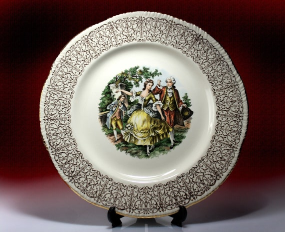 Homer Laughlin Portrait Plate, Gold Filigree, Gold Trim, Dinner Plate, Collectible