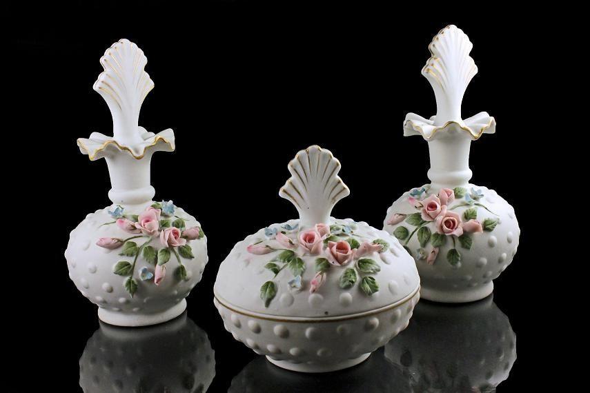 Porcelain Perfume Bottles Vanity Set Lefton Powder Box
