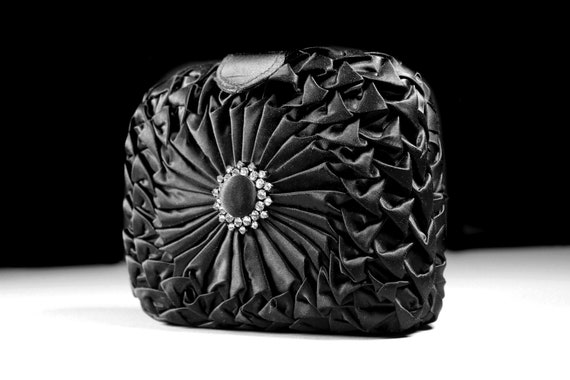 Black Evening Handbag, La Regale, Clutch Purse, Shoulder Bag, Rhinestone Embellishment, Magnetic Closure, Woven Shoulder Strap