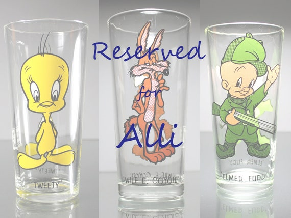 RESERVED FOR ALLI  Three Cartoon Glasses Per Request